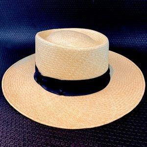 Jaxon Panama Boater Straw Hat Hand Woven NICE!!!!!
